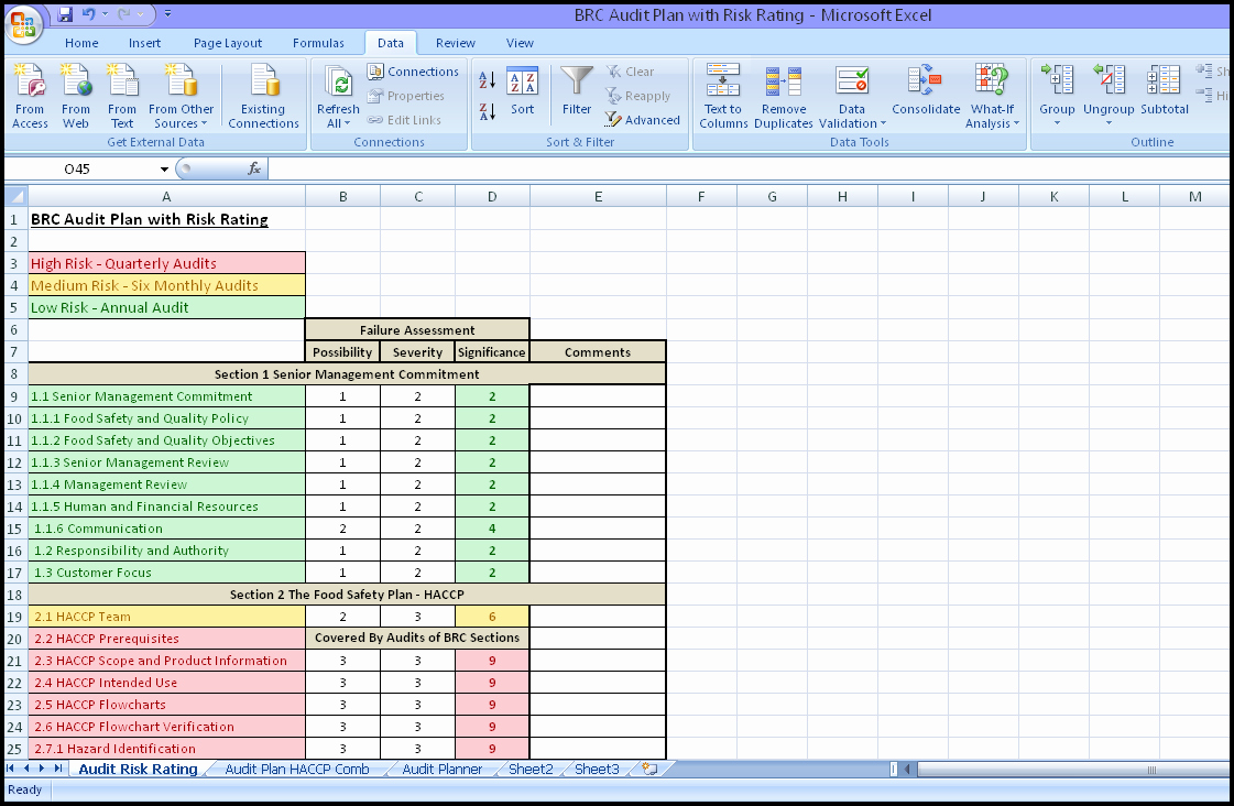 internal audit schedule template 1254
