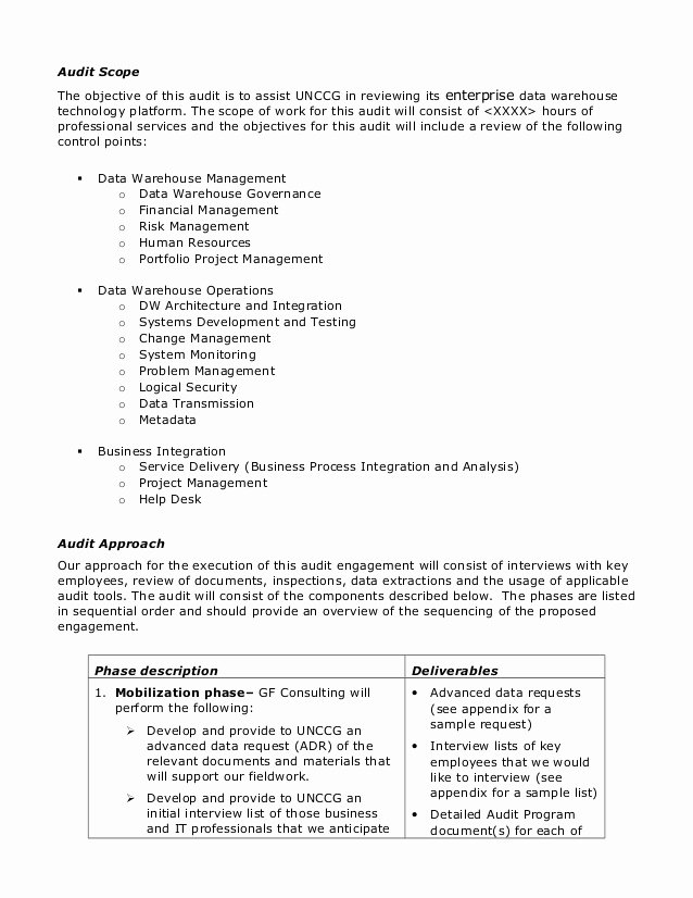 Internal Audit Plan Template Unique Sample Audit Plan