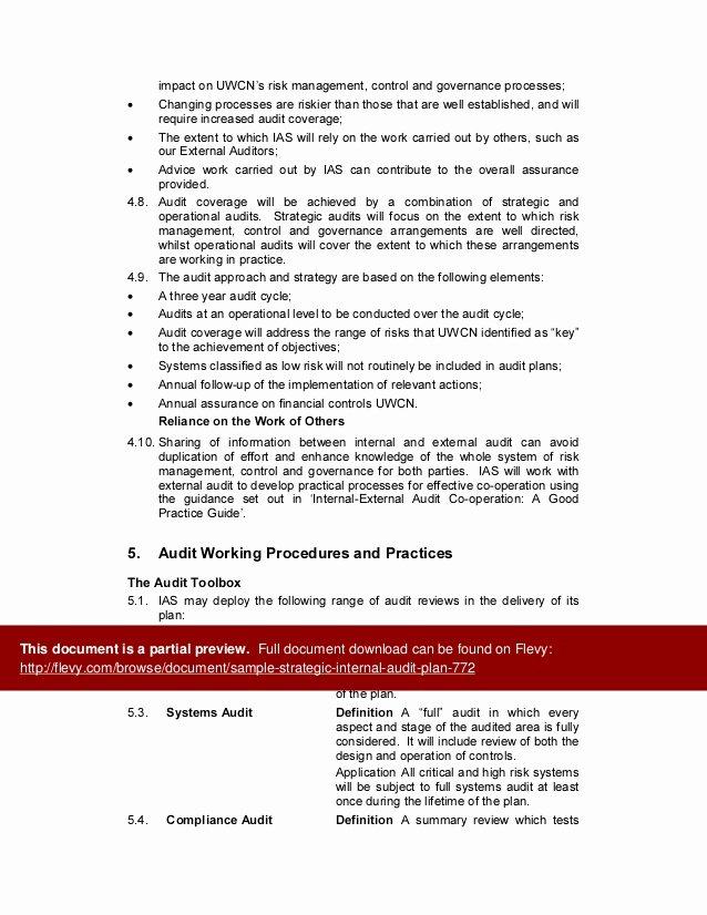 Internal Audit Plan Template Unique Sample Strategic Internal Audit Plan