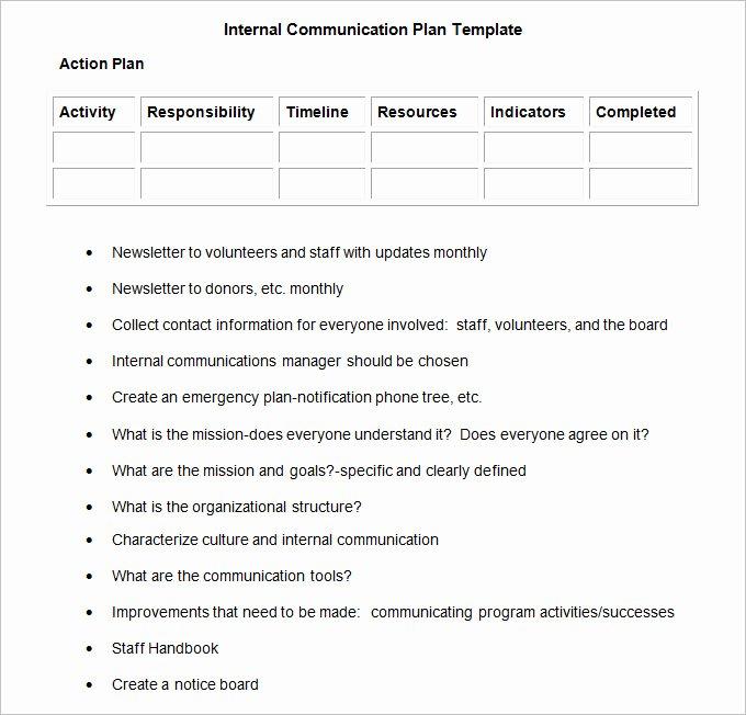 Internal Communication Plan Template Fresh Internal Munication Plan Template 3 Fee Word Pdf