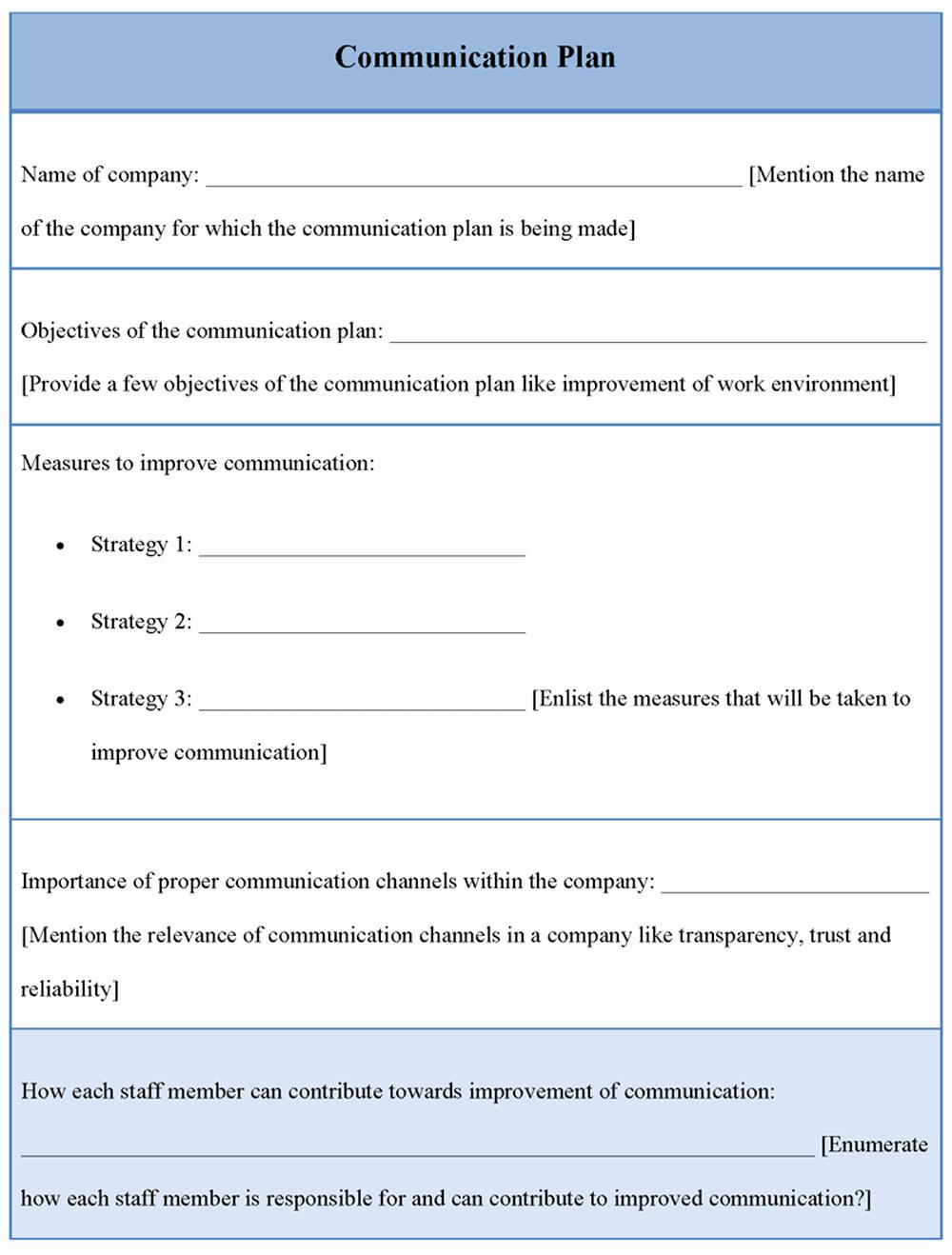 Internal Communication Plan Template Fresh Munication Plan Template