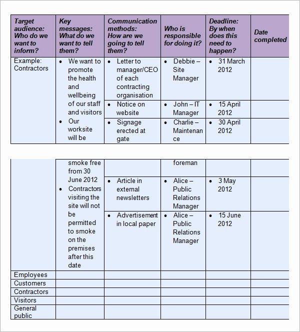 Internal Communication Plan Template Inspirational 16 Samples Of Munication Plan Templates Pdf Word