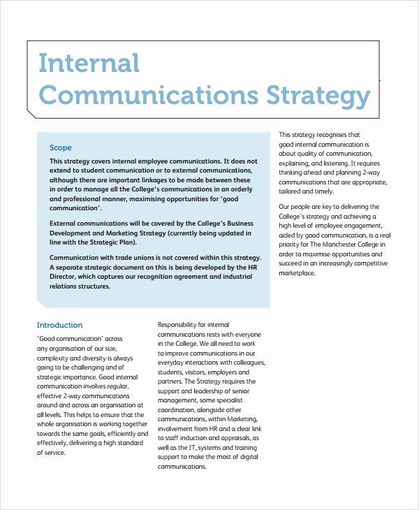 Internal Communication Plan Template New 8 Sample Munication Strategy Templates