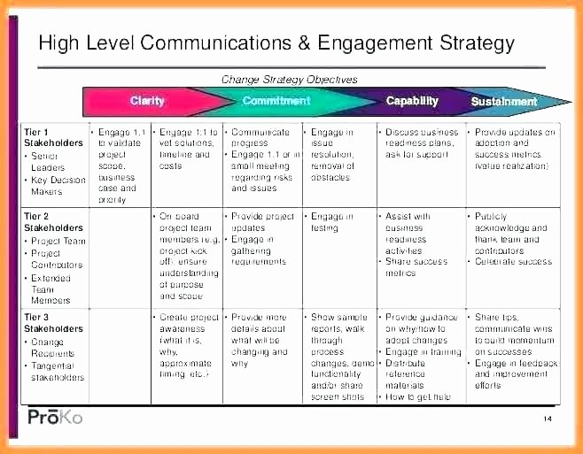 Internal Communications Plan Template Beautiful Internal and External Stakeholder Munication Plan