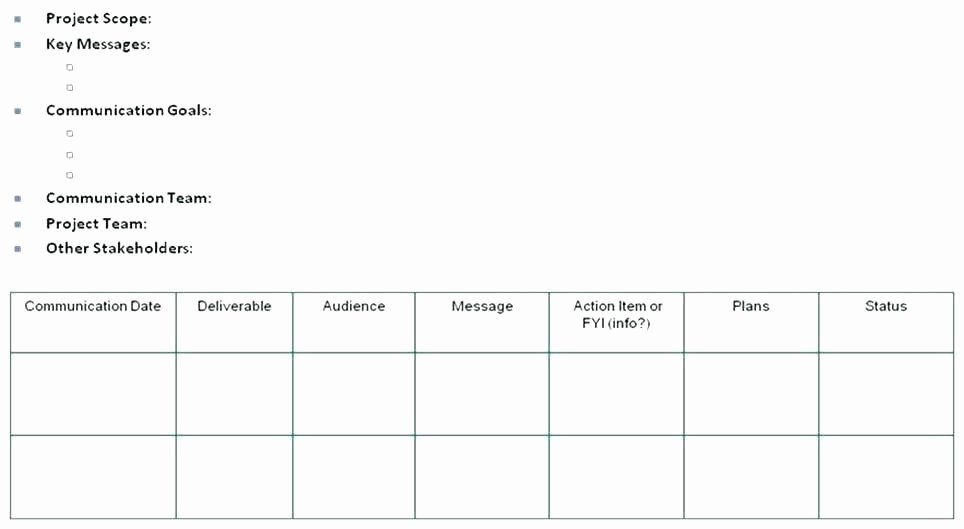 Internal Communications Plan Template Fresh Internal Munications Plan Template