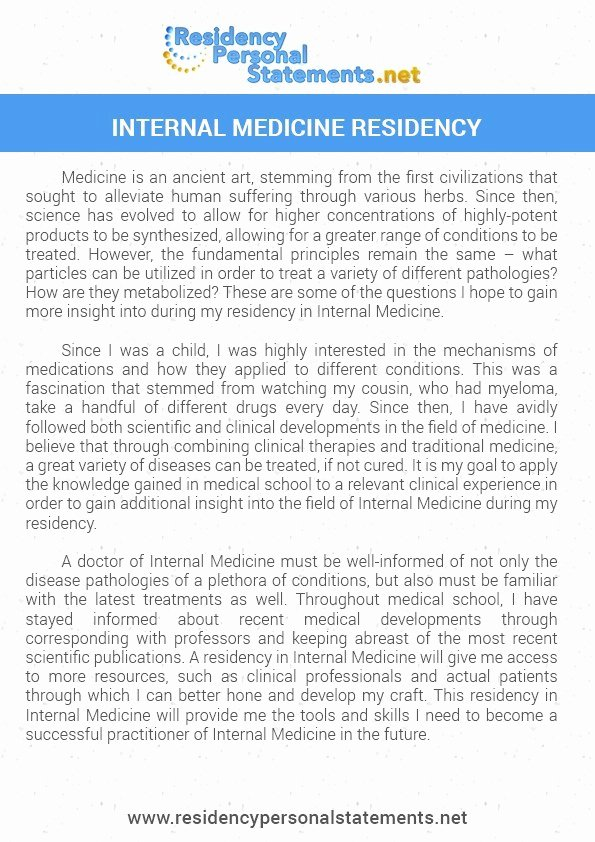 Internal Medicine Letter Of Recommendation Beautiful Personal Statement Internal Medicine Residency Application