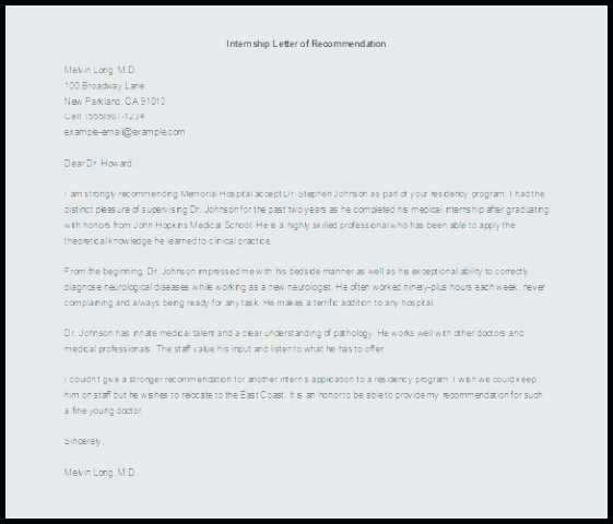 Internal Medicine Letter Of Recommendation Best Of Letter Re Mendation for An Intern Professional