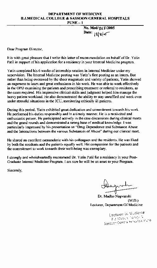 Internal Medicine Letter Of Recommendation Elegant Application for Internal Medicine Postmatch 2006