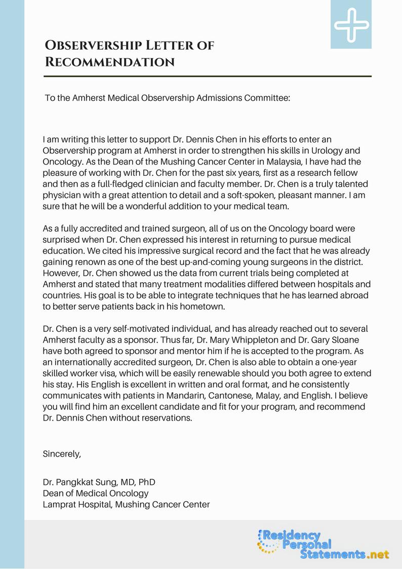 Internal Medicine Letter Of Recommendation Lovely Find Observership Letter Sample Here Cover Letter