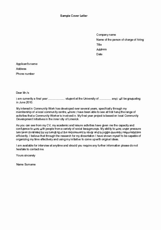 Internship Letter format Students Awesome Sample Cover Letters for Employment