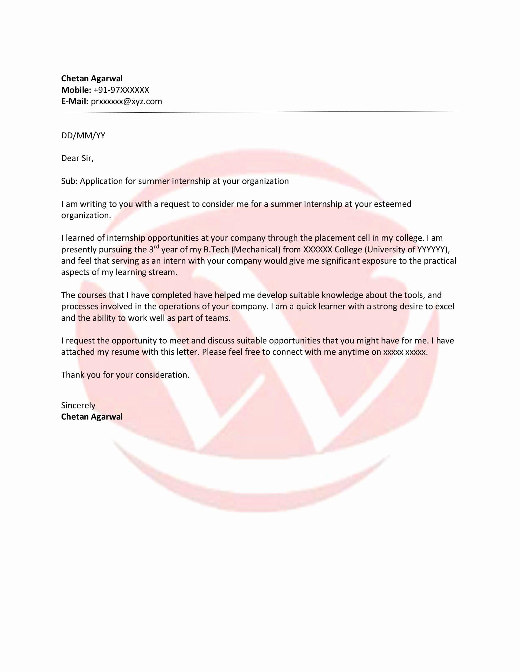 Internship Letter format Students Best Of Internship Sample Letter format Download Letter format