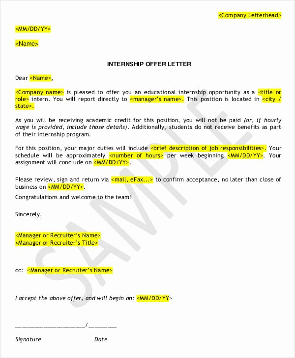 Internship Letter format Students Fresh 9 Internship Appointment Letter Templates Free Sample
