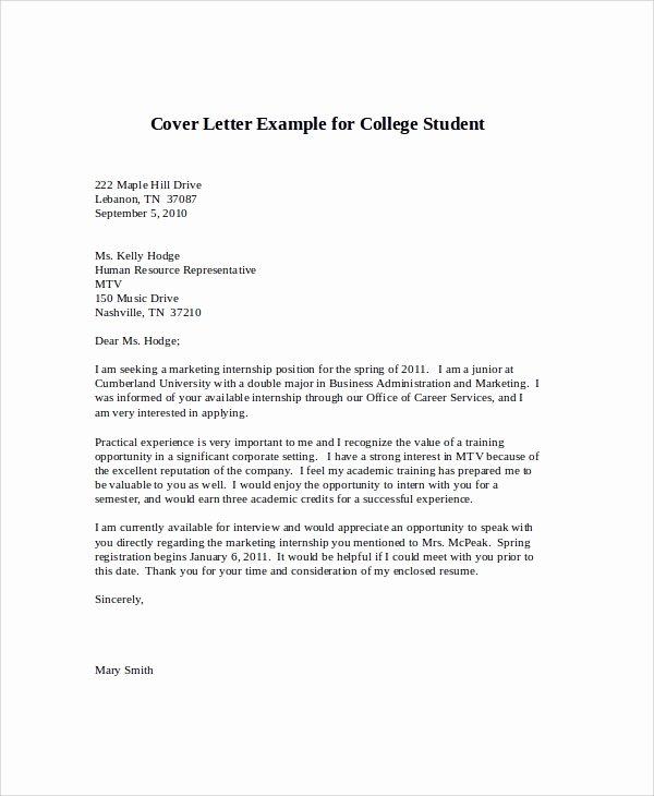 Internship Letter format Students Fresh Sample Cover Letter for Internship 9 Examples In Word Pdf
