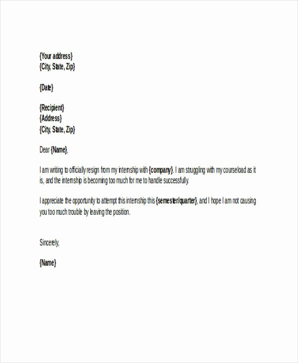 Internship Letter format Students Luxury 8 Sample Internship Resignation Letters Free Sample
