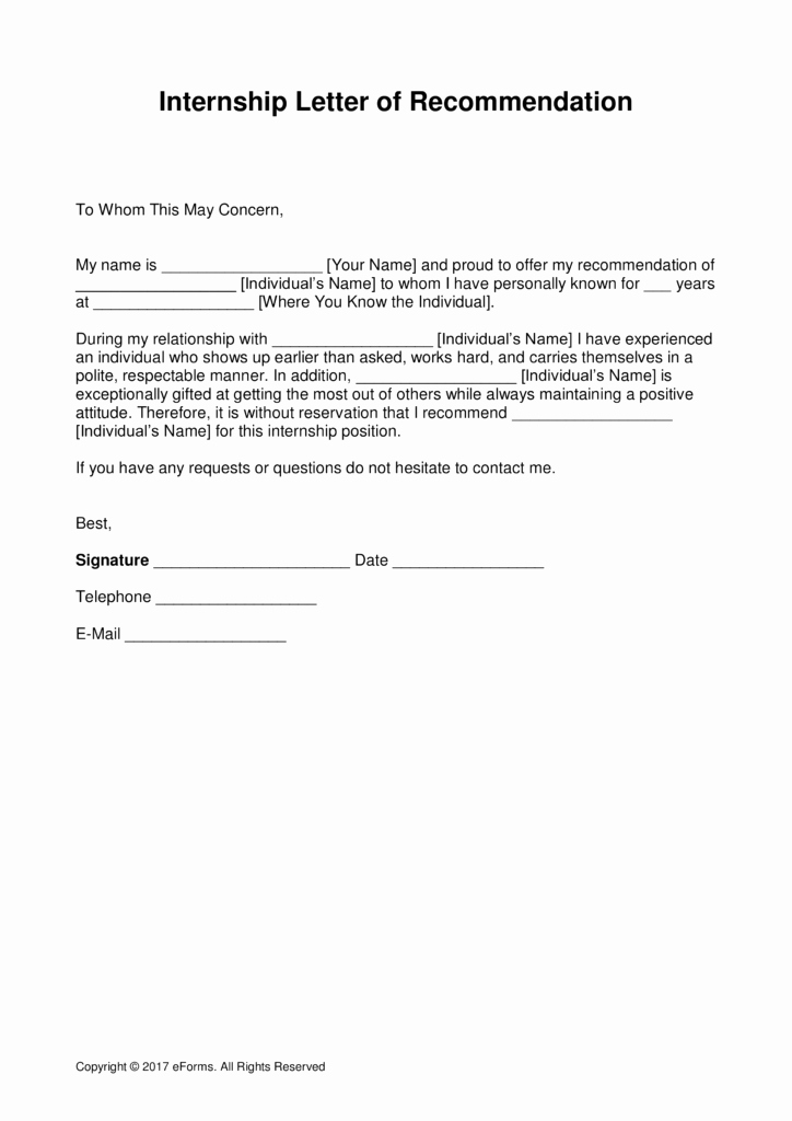 Internship Letter format Students Luxury Re Mendation Letter Template format