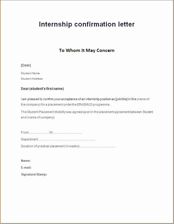 Internship Letter format Students Unique Internship Confirmation Letter