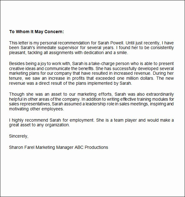 Internship Letter Of Recommendation Fresh Job Re Mendation Letter 12 Free Documents In Word Pdf