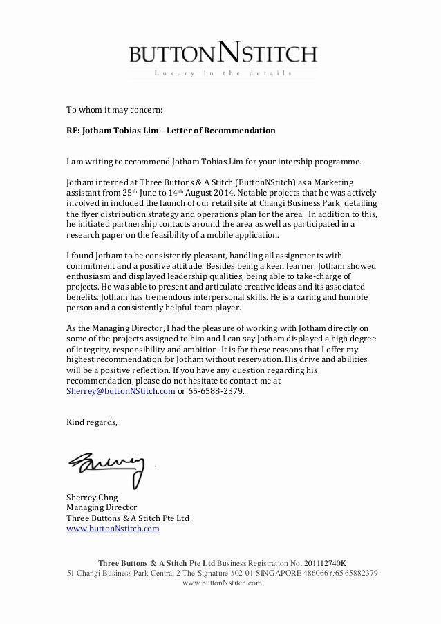 Internship Letter Of Recommendation Unique Internship Re Mendation Letter