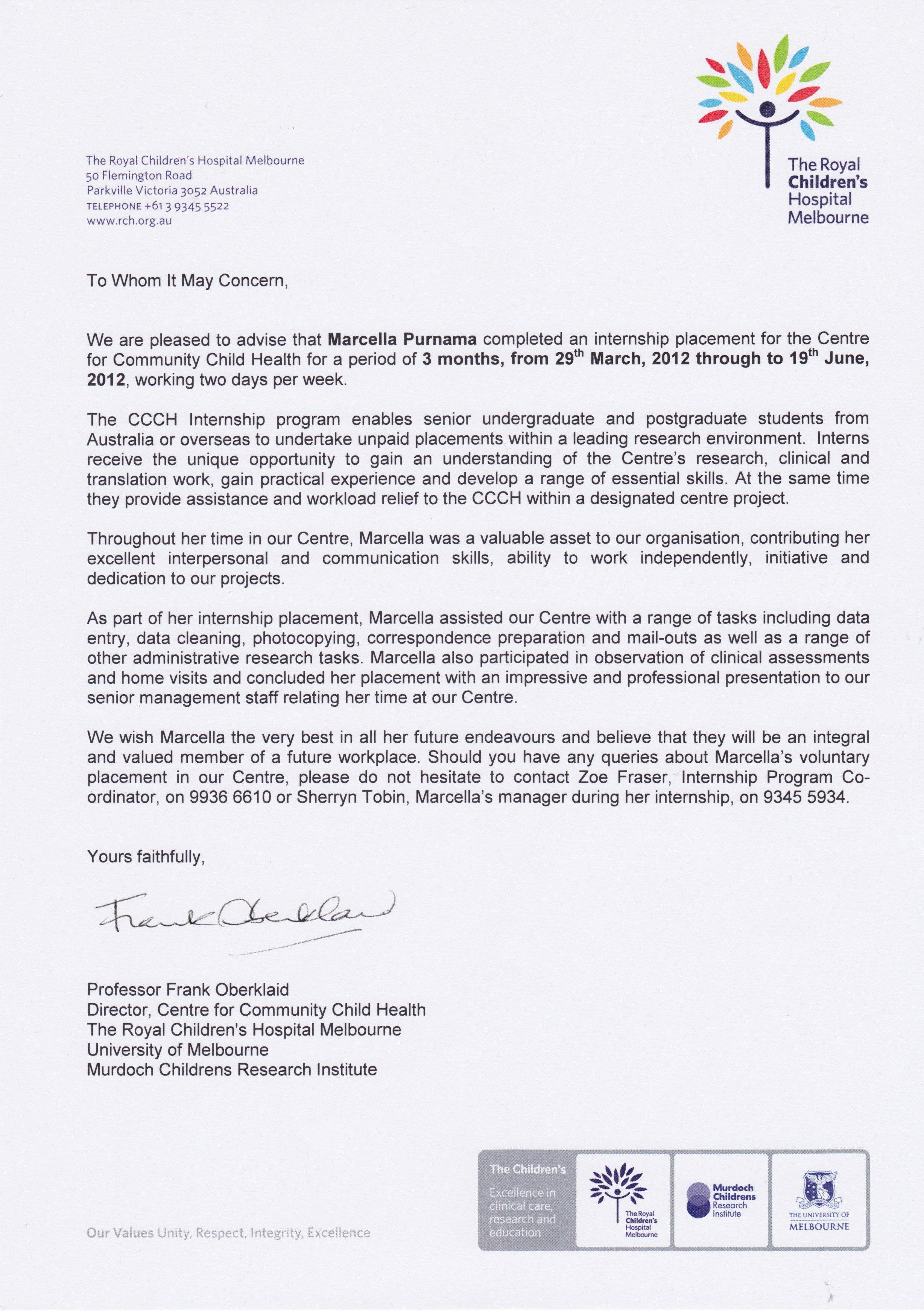 Internship Letter Of Recommendation Unique Re Mendation Letter for Internship Pletion