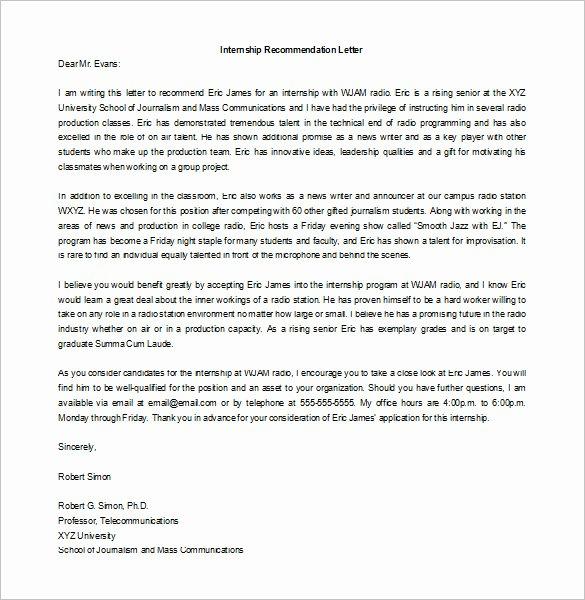 Internship Letter Of Recommendation Unique Request Letter Internship