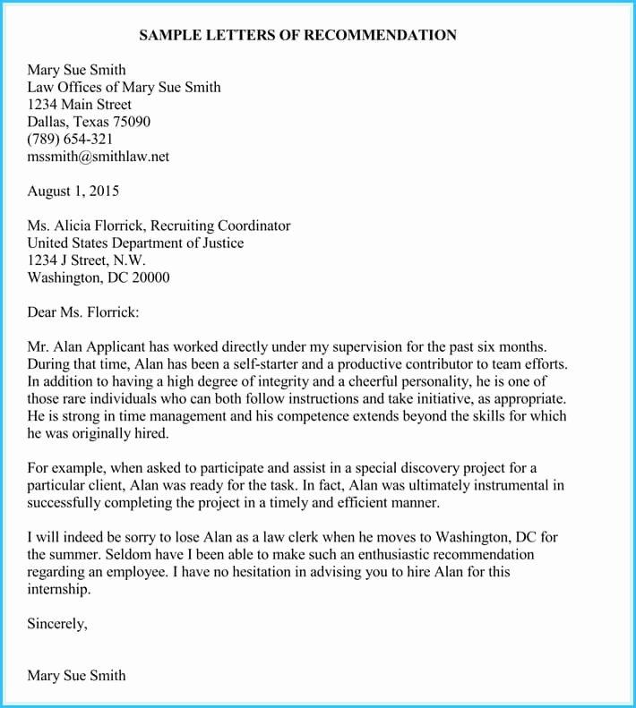 Internship Recommendation Letter Sample Awesome Internship Reference Re Mendation Letters 8 Best