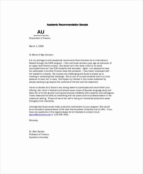 Internship Recommendation Letter Sample Best Of 7 Sample Re Mendation Letter From Professor