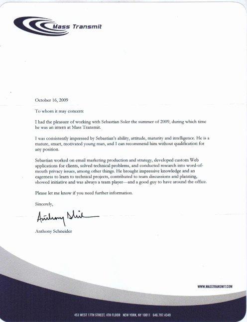 Internship Recommendation Letter Sample Lovely Letter Re Mendation for Internship