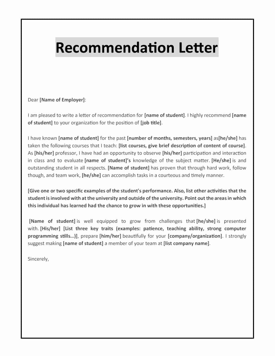 Internship Recommendation Letter Sample New 43 Free Letter Of Re Mendation Templates & Samples