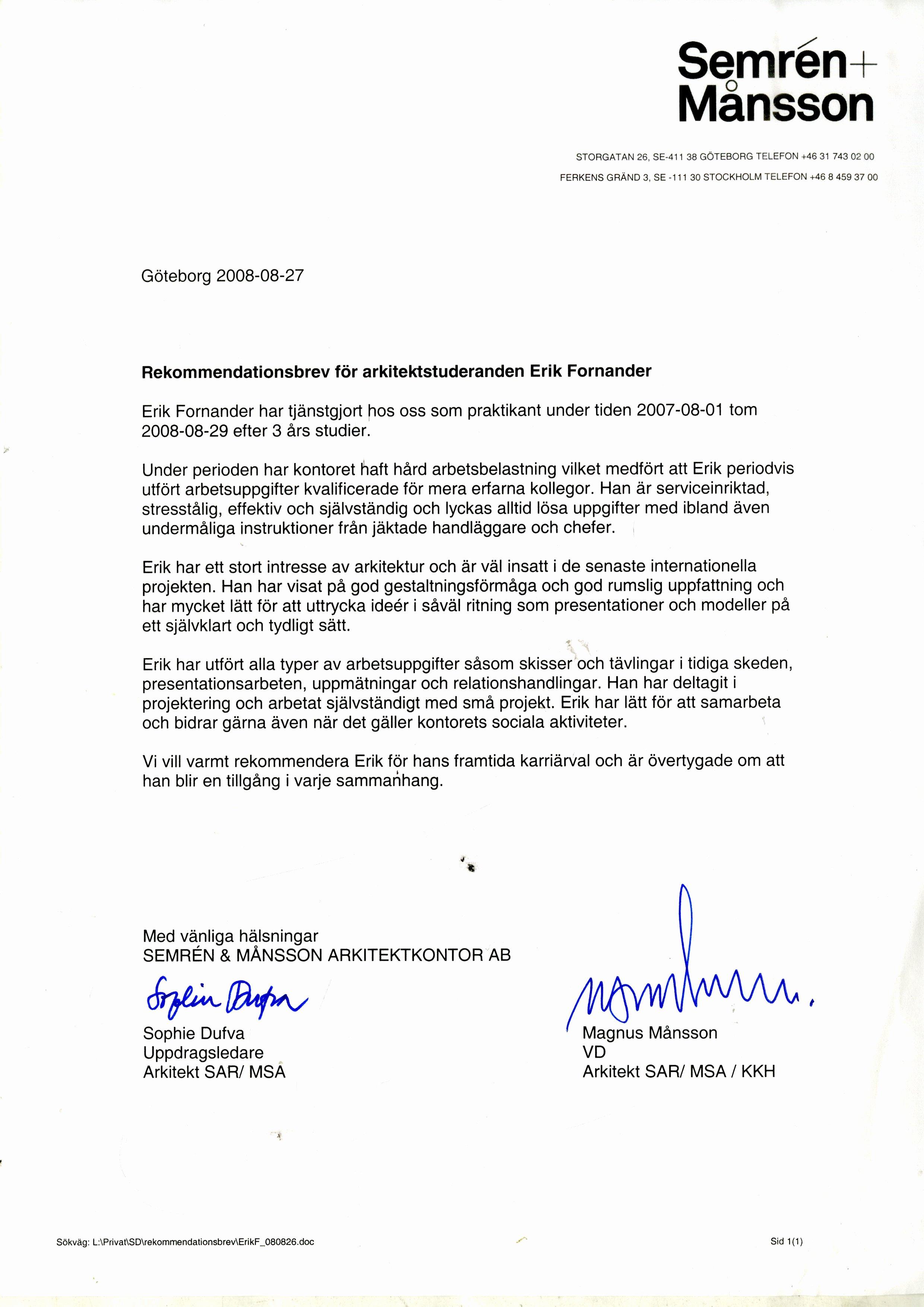 Internship Recommendation Letter Sample New Re Mendation Letter