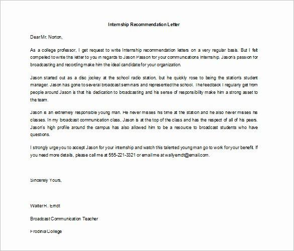 Internship Recommendation Letter Sample Unique 10 Letters Of Re Mendation for Internship Pdf Doc