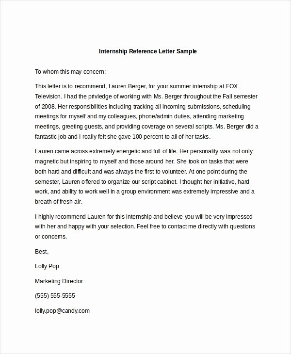 Internship Recommendation Letter Sample Unique Sample Reference Letter 10 Free Documents In Pdf Doc