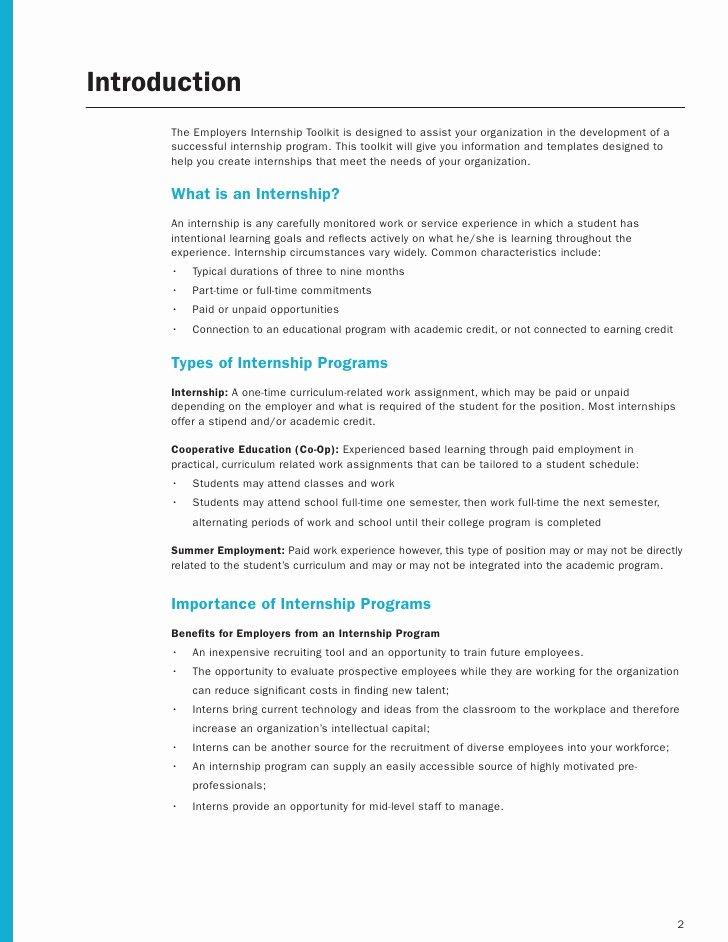 Internship Work Plan Template Beautiful Employer Internship toolkit