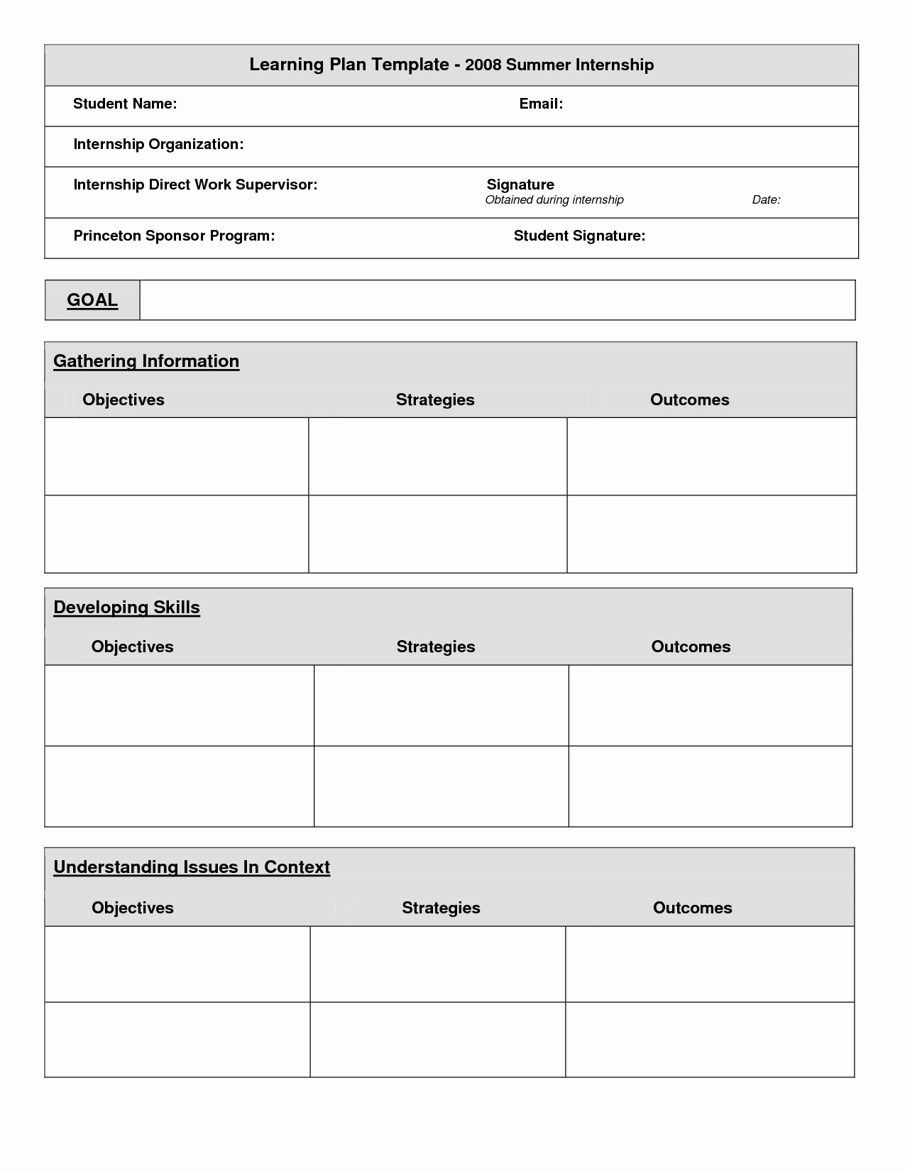 Internship Work Plan Template Lovely 18 Of Student Learning Plan Template