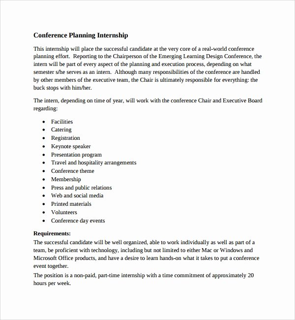 Internship Work Plan Template New 10 Conference Planning Templates