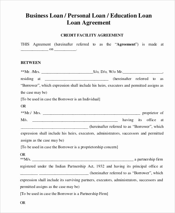 Intra Family Loan Agreement Template Best Of Intra Family Loan Agreement Template