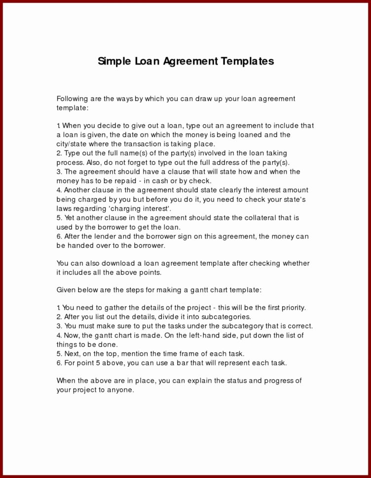 Intra Family Loan Agreement Template Lovely Money Loan Agreement Download Loan Document Free