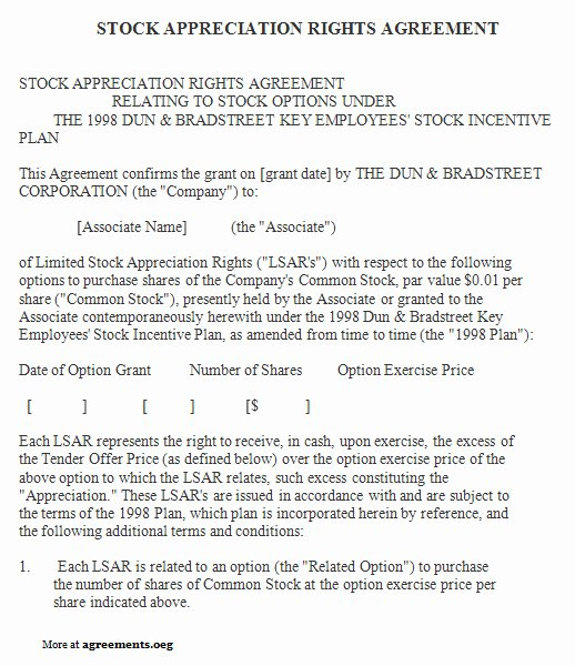 Inventory Stocking Agreement Inspirational Stock Appreciation Rights Agreement Sample Stock