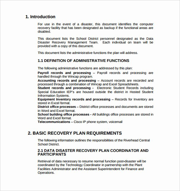 It Disaster Recovery Plan Template Lovely 13 Disaster Recovery Plan Templates – Free Sample