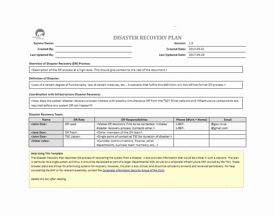 It Disaster Recovery Plan Template Luxury 52 Effective Disaster Recovery Plan Templates [drp]