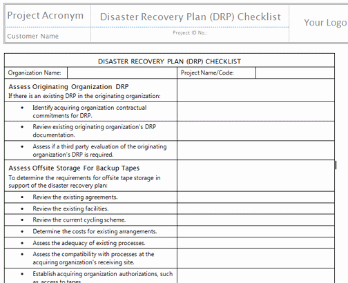 It Disaster Recovery Plan Template New Disaster Recovery Plan Template