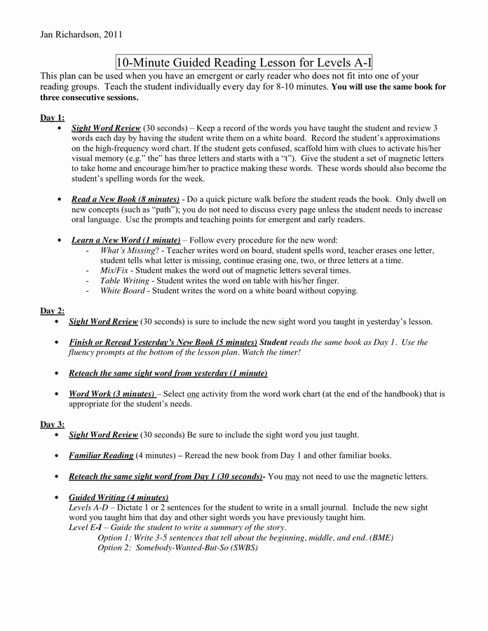 Jan Richardson Lesson Plan Template Luxury Pre A Lesson Plan In Word and Pdf formats Page 7 Of 11