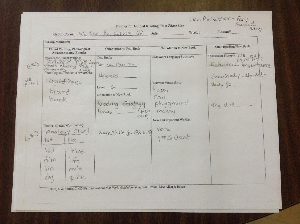 Jan Richardson Lesson Plan Template New the Next Step In Guided Reading by Jan Richardson Jcps