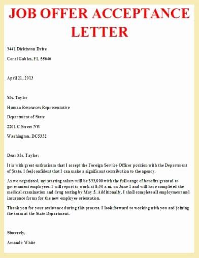 Job Acceptance Letter format Beautiful Job Offer Acceptance Letter Letter Pinterest