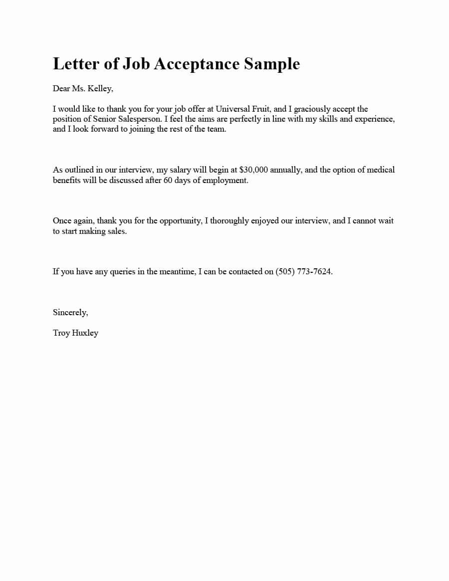 Job Acceptance Letter format Elegant 40 Professional Job Fer Acceptance Letter & Email