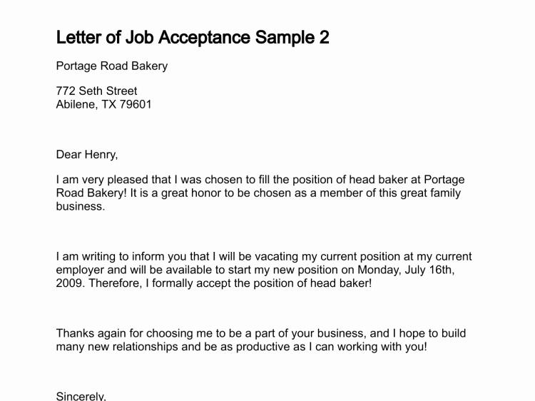 Job Acceptance Letter format Fresh Letter Of Job Acceptance