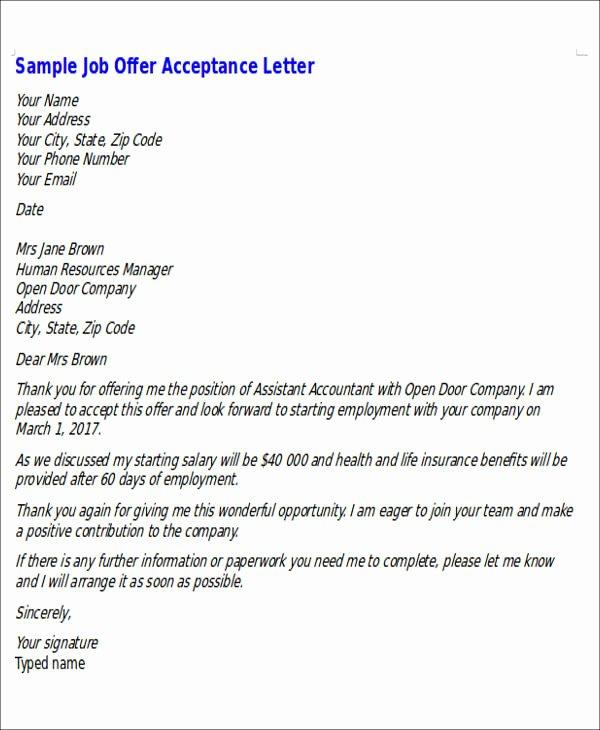 Job Acceptance Letter format Fresh Sample formal Job Fer Letter 6 Examples In Word Pdf