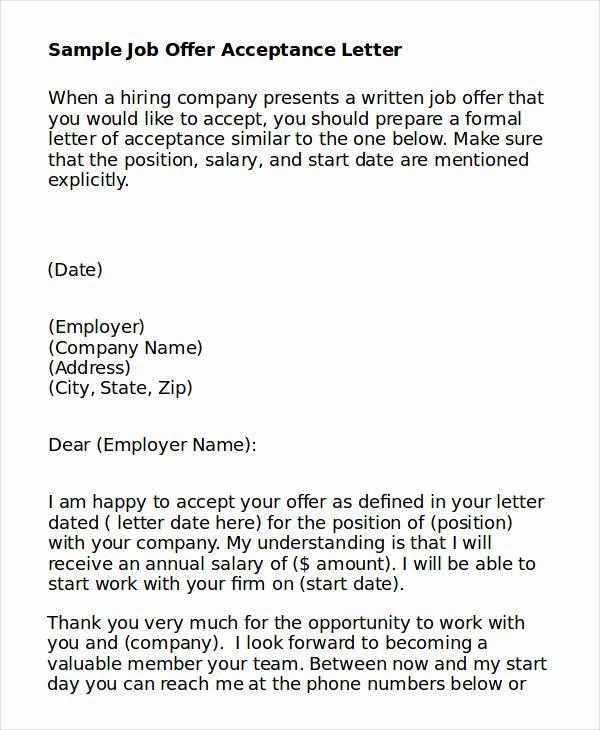 Job Acceptance Letter format Inspirational Job Acceptance Letter 9 Free Word Pdf Documents