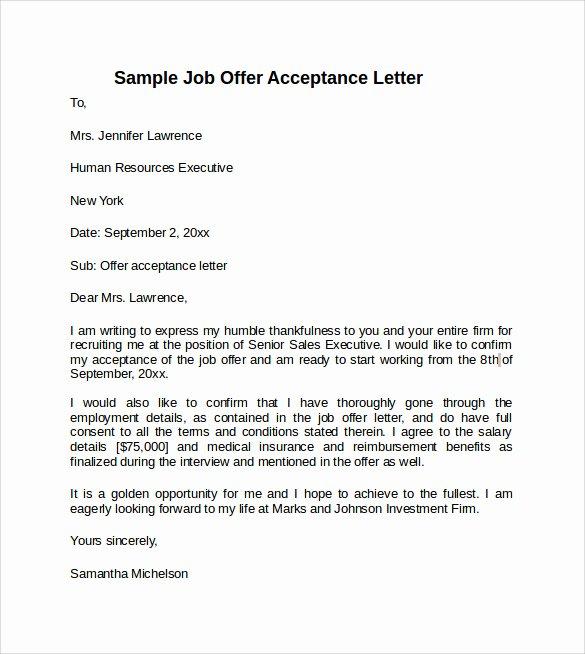 Job Acceptance Letter format Lovely 9 Sample Fer Acceptance Letters to Download