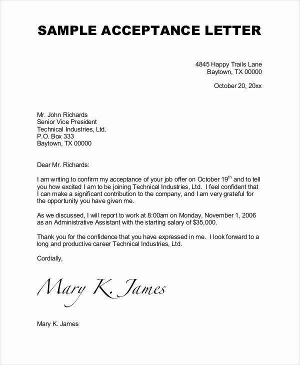 Job Acceptance Letter format Unique Job Acceptance Letter 9 Free Word Pdf Documents