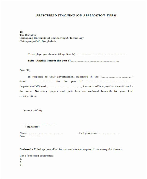 Job Application Letter format Pdf Beautiful 52 Application Letter Examples & Samples Pdf Doc